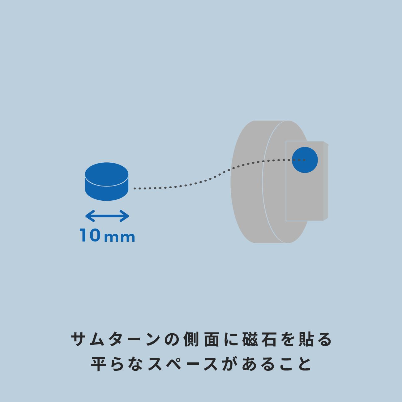 サムターンの側面に「磁石」を貼る平らなスペースがあること。